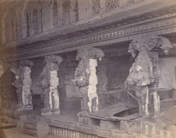 Madura. The Great Pagoda [Minakshi Sundareshvara Temple]. Interior of Porch